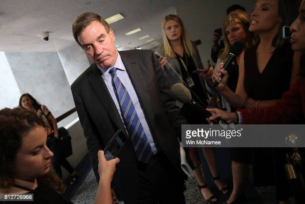 Sen Mark Warner ranking member of the Senate Select Committee on Intelligence finishes speaking with reporters before a closed committee meeting July...