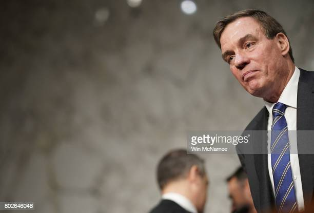 S Sen Mark Warner ranking member of the Senate Select Intelligence Committee awaits the start of a hearing June 28 2017 in Washington DC During the...