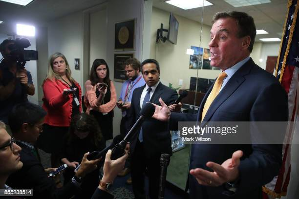 Sen Mark Warner Senate Intelligence Committee ranking member speaks to the media about today's committee staff members meeting with two Twitter...