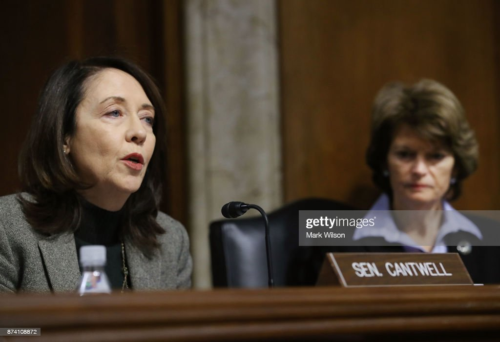 Sen. Marria Cantwell (D-WA), speaks while Chairman Lisa Murkowski (R-AK), listens during a Senate Energy and Natural Resources Committee hearing on hurricane recovery efforts in Puerto Rico and the US Virgin Islands, on Capitol Hill November 14, 2017 in Washington, DC.