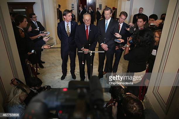 Sen Martin Heinrich Sen Charles Schumer Sen John Thune and Sen Jeff Flake talks to reporters after a Senate bipartisan lunch in the Russell Senate...