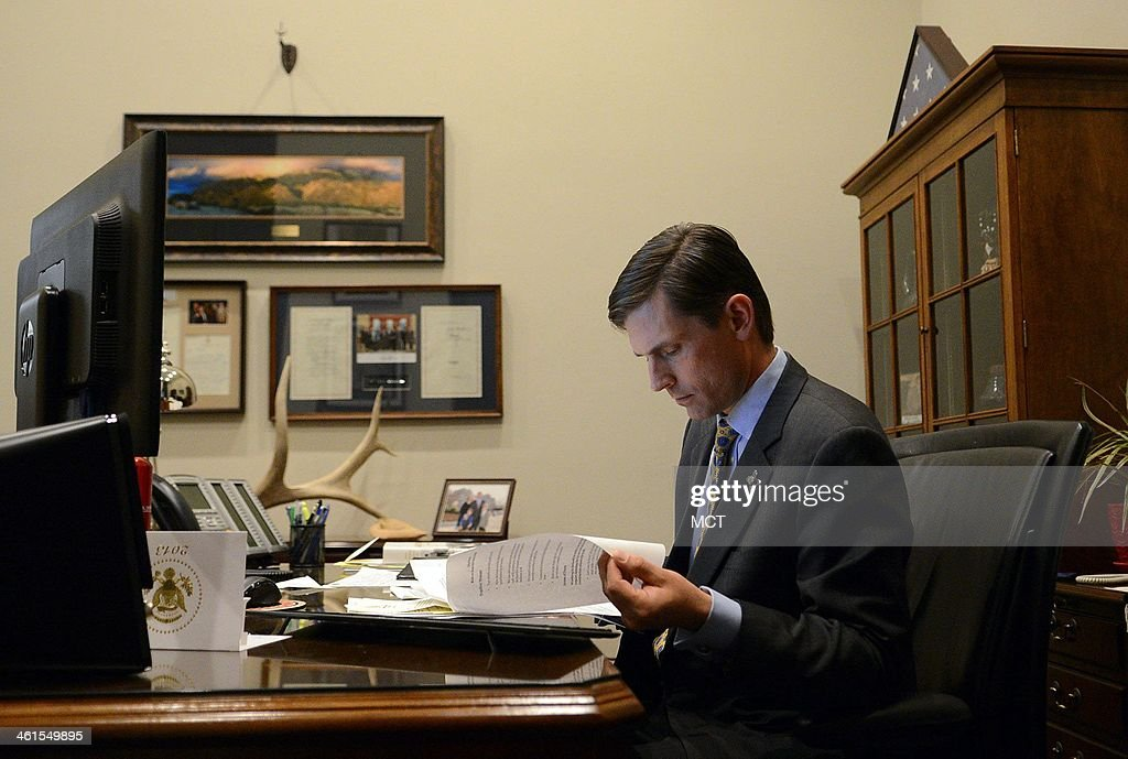 Sen. Martin Heinrich (D-N.M.), the newest member of the U.S. Senate Select Committee on Intelligence, works in his office on Capitol Hill in Washington, D.C., Dec. 18, 2013.