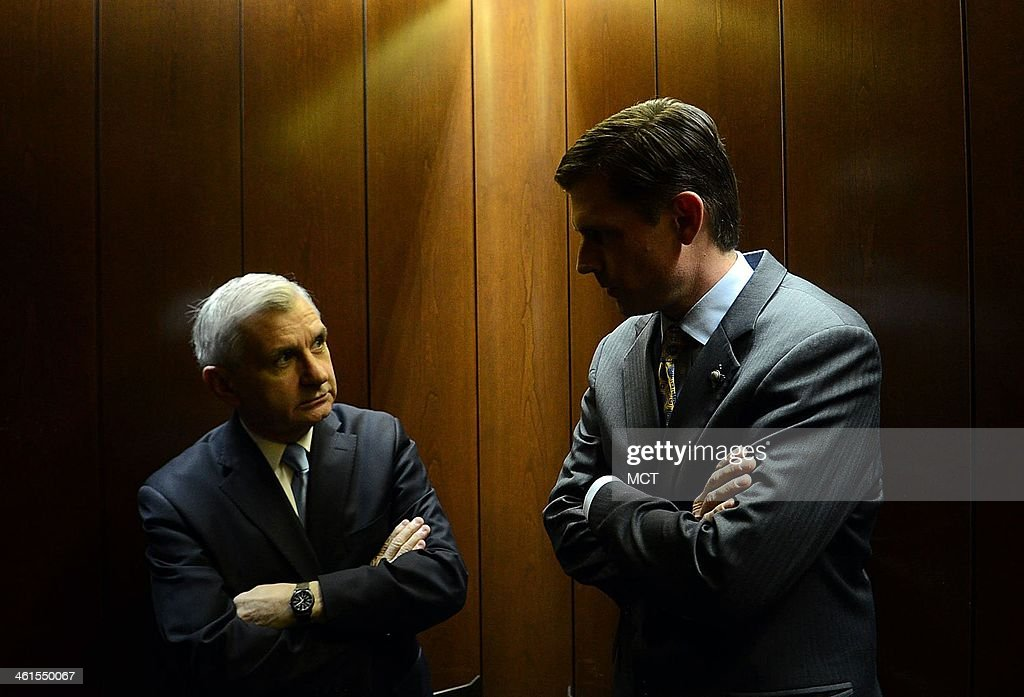 Sen. Martin Heinrich (D-N.M.), the newest member of the U.S. Senate Select Committee on Intelligence, meets Sen. John 'Jack' Reed (D-RI) in the elevator while returning from the Senate floor after voting on the budget bill on Capitol Hill in Washington, D.C., Dec. 18, 2013.