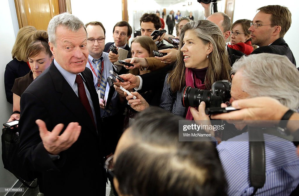 Sen. <a gi-track='captionPersonalityLinkClicked' href=/galleries/search?phrase=Max+Baucus&family=editorial&specificpeople=242972 ng-click='$event.stopPropagation()'>Max Baucus</a> (D-MT) answers questions from reporters April 23, 2013 on Capitol Hill in Washington, DC. It was announced earlier that Baucus, after 36 years in the Senate, will not seek reelection in 2014.