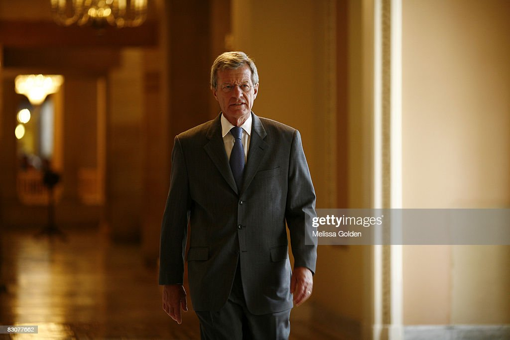 S Sen Max Baucus chairman of the United States Senate Committee on Finance walks through the Senate side of the Capitol building October 1 2008 in...