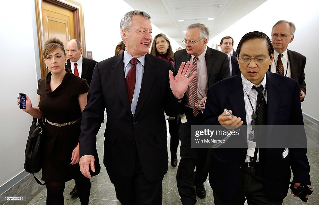 Sen. <a gi-track='captionPersonalityLinkClicked' href=/galleries/search?phrase=Max+Baucus&family=editorial&specificpeople=242972 ng-click='$event.stopPropagation()'>Max Baucus</a> (D-MT) is trailed by reporters April 23, 2013 on Capitol Hill in Washington, DC. It was announced earlier that Baucus, after 36 years in the Senate, will not seek reelection in 2014.