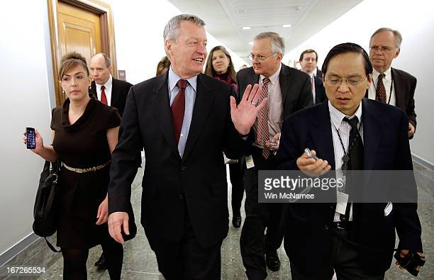 Sen Max Baucus is trailed by reporters April 23 2013 on Capitol Hill in Washington DC It was announced earlier that Baucus after 36 years in the...