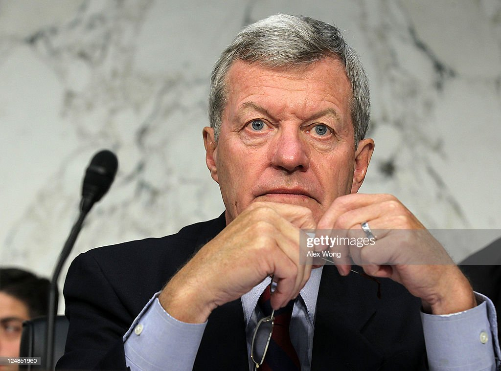 U.S. Sen. <a gi-track='captionPersonalityLinkClicked' href=/galleries/search?phrase=Max+Baucus&family=editorial&specificpeople=242972 ng-click='$event.stopPropagation()'>Max Baucus</a> (D-MT) listens during a hearing before the Joint Deficit Reduction Committee, also known as the supercommittee, September 13, 2011 on Capitol Hill in Washington, DC. The committee heard from Congressional Budget Office Director Douglas Elmendorf on 'The History and Drivers of Our Nation's Debt and Its Threats.'