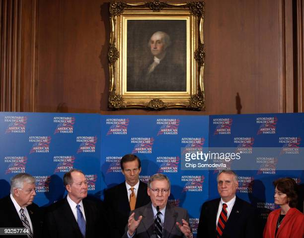 Sen Michael Enzi Sen Lamar Alexander Sen John Thune Senate Minority Leader Mitch McConnell Sen Jon Kyl and Sen Lisa Murkowski hold a news conference...