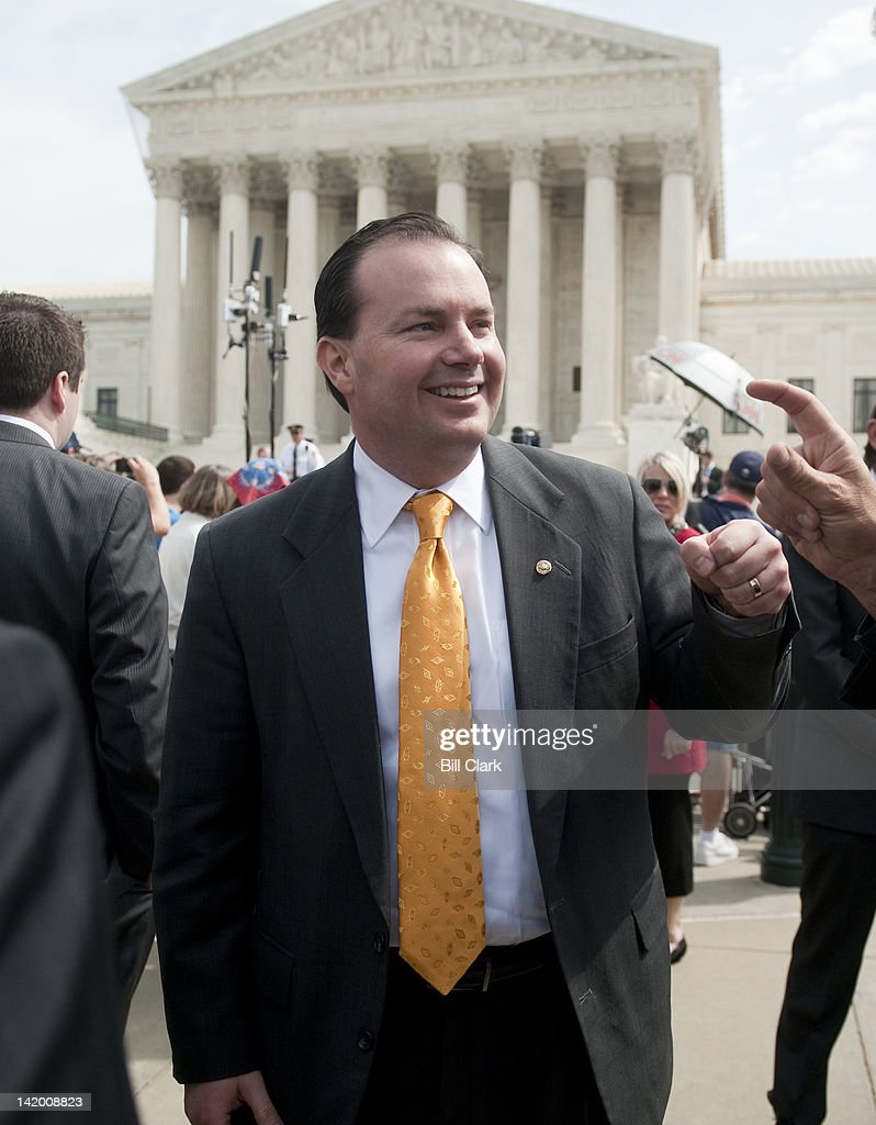 Sen. <a gi-track='captionPersonalityLinkClicked' href=/galleries/search?phrase=Mike+Lee+-+Utah+Politician&family=editorial&specificpeople=11404416 ng-click='$event.stopPropagation()'>Mike Lee</a>, R-Utah, leaves the Supreme Court on day 3 of oral arguments on the Affordable Care Act on Wednesday, March 28, 2012.