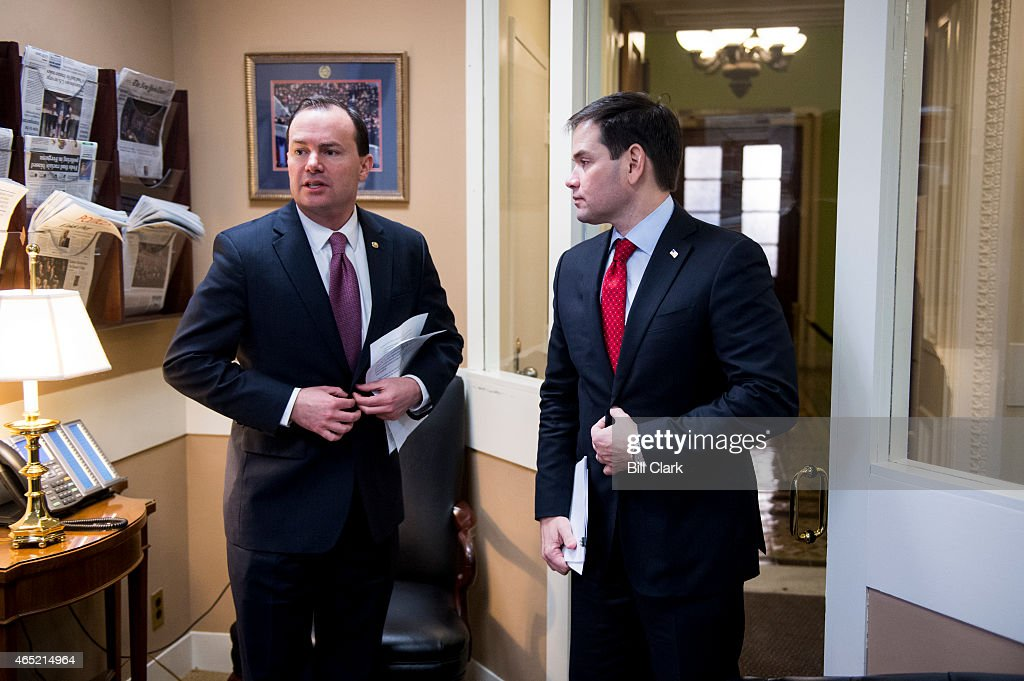 Sen. <a gi-track='captionPersonalityLinkClicked' href=/galleries/search?phrase=Mike+Lee+-+Utah+Politician&family=editorial&specificpeople=11404416 ng-click='$event.stopPropagation()'>Mike Lee</a>, R-Utah, left, and Sen. <a gi-track='captionPersonalityLinkClicked' href=/galleries/search?phrase=Marco+Rubio+-+Politician&family=editorial&specificpeople=11395287 ng-click='$event.stopPropagation()'>Marco Rubio</a>, R-Fla., prepare to hold a news conference on a tax plan rollout on Wednesday, March 4, 2015.