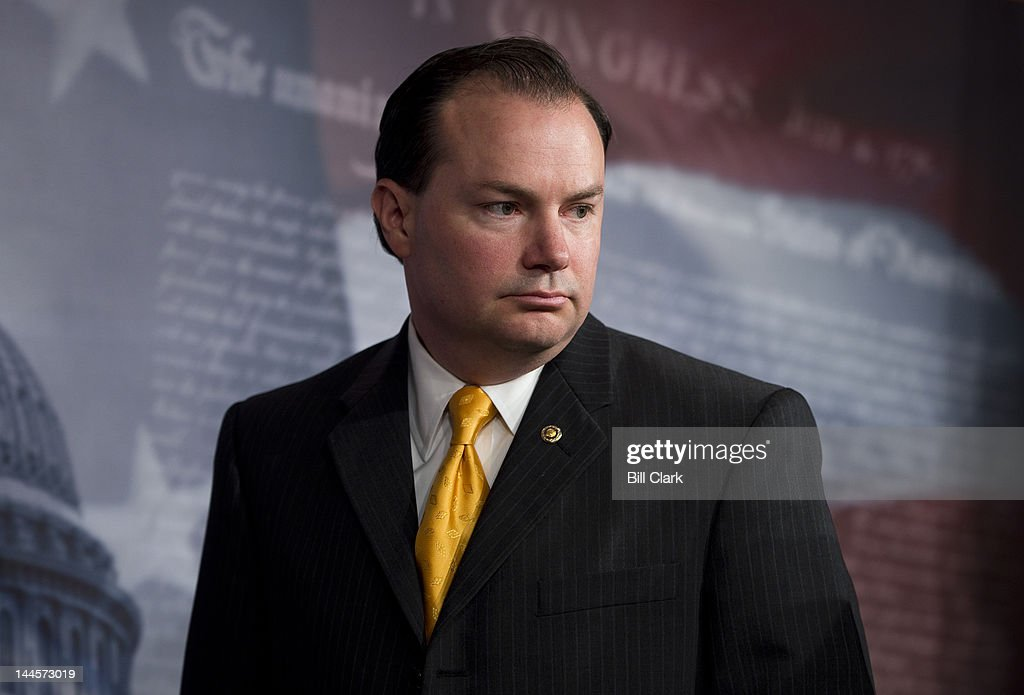 Sen. <a gi-track='captionPersonalityLinkClicked' href=/galleries/search?phrase=Mike+Lee+-+Utah+Politician&family=editorial&specificpeople=11404416 ng-click='$event.stopPropagation()'>Mike Lee</a>, R-Utah, participates in a news conference in the Capitol with other Senate Republicans to discuss the budget on Wednesday, May 16, 2012.