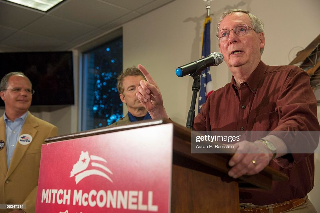 S Sen Mitch McConnell speaks at a rally at Warren County Regional Airport November 3 2014 in Bowling Green Kentucky Heading into election day...
