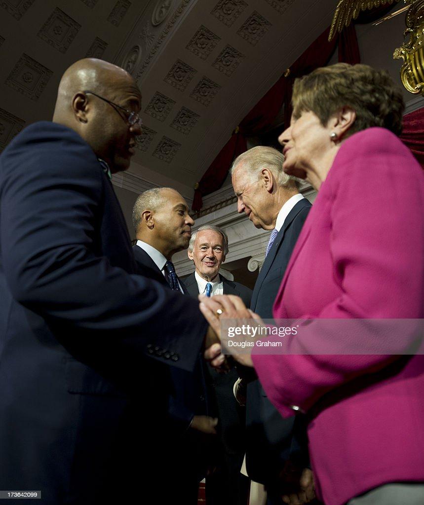 Sen. Mo Cowan, D-Mass., Massachusetts, Governor Deval Patrick, Senator-elect Ed Markey, D-Mass., Vice President Joe Biden, and House Minority Leader Nancy Pelosi, D-CA., during a mock swearing-in ceremony in the Old Senate Chamber on July 16, 2013.