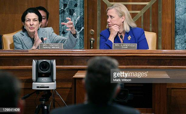 S Sen Olympia Snowe questions US Treasury Secretary Timothy Geithner while Chairman US Sen Mary Landrieu listens during a Senate Small Business and...