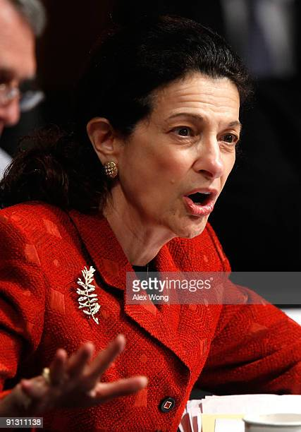 Sen Olympia Snowe speaks during a hearing before the US Senate Finance Committee on Capitol Hill October 1 2009 in Washington DC The committee...