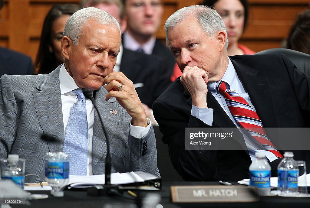 U.S. Sen. Orrin Hatch (R-UT) (L) listens to Sen. Jeff Sessions (R-AL) (R) during a markup hearing for the Kagan confirmation before the Senate Judiciary Committee July 20, 2010 on Capitol Hill in Washington, DC. The committee has voted 13-6, in favor of President Obama�s nomination of Elena Kagan to become an Associate Justice of the Supreme Court of the United States, to replace Justice John Paul Stevens who has retired on June 29, 2010.