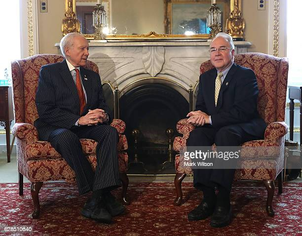 Sen Orrin Hatch meets Rep Tom Price in his office on Capitol Hill December 8 2016 in Washington DC Presidentelect Donald Trump has nominated Rep...