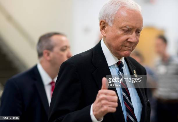 Sen Orrin Hatch RUtah gives a thumbs up as he walks to the Senate subway in the Capitol on Tuesday Sept 26 2017