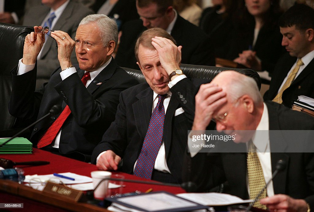 Sen. Orrin Hatch (R-UT), Senate Judiciary Committee Chairman Arlen Specter (R-PA), and ranking Democrat Sen. Patrick Leahy take part in the opening round of the confirmation hearings for Supreme Court nominee Judge Samuel Alito on Capitol Hill January 9, 2006 in Washington, DC. Alito is expected to face tough questions from members of the Senate Judiciary Committee as his confirmation hearing begins today.