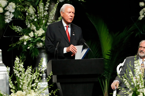Sen Orrin Hatch speaks at a memorial service for boxing legend Muhammad Ali on June 10 2016 at the KFC Yum Center in Louisville Kentucky Ali died...