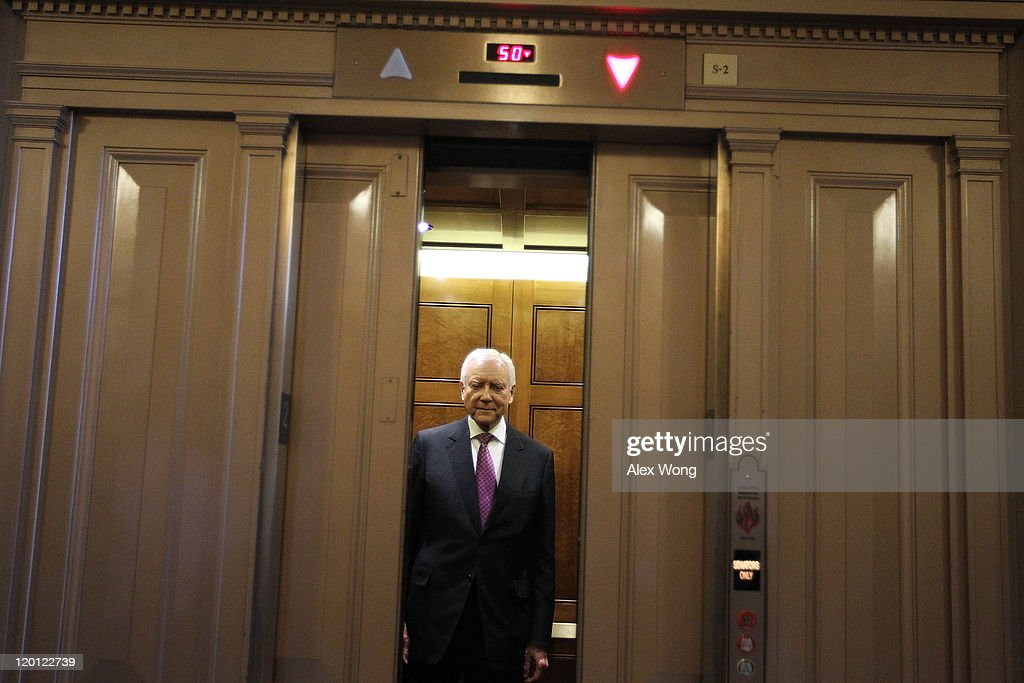 U.S. Sen. Orrin Hatch (R-UT) takes an elevator July 30, 2011 at the Capitol in Washington, DC. Members of the Congress continued to debate on the debt ceiling plan.