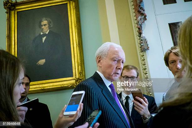 Sen Orrin Hatch walks to the Senate Chamber shortly after President Barack Obama nominated Merrick B Garland to be an Associate Justice of the...