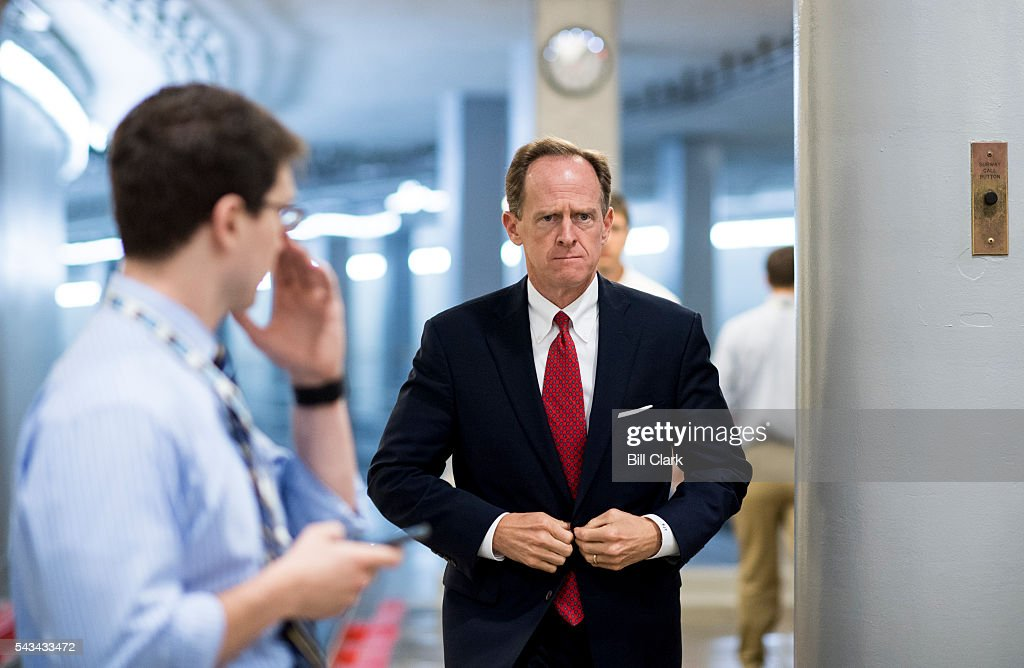 Sen. Pat Toomey (R-PA) arrives in the Capitol for the Senate Republicans' policy luncheon on Tuesday, June 28, 2016.