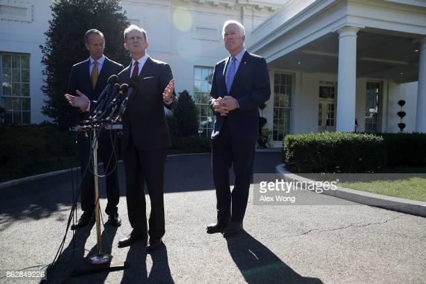 S Sen Pat Toomey speaks to members of the media as Sen John Thune and Senate Majority Whip Sen John Cornyn listen outside the West Wing of the White...