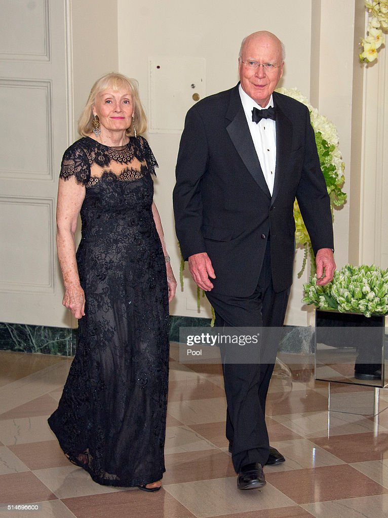 Sen. Patrick Leahy (D-VT) (R) and Marcelle Leahy arrive for the State Dinner in honor of Prime Minister Trudeau and Mrs. Sophie Trudeau of Canada at the White House March 10, 2016 in Washington, DC. Hosted by President and First Lady Obama, the dinner is in honor of Prime Minister Justin Trudeau and Sophie Gregoire Trudeau of Canada.
