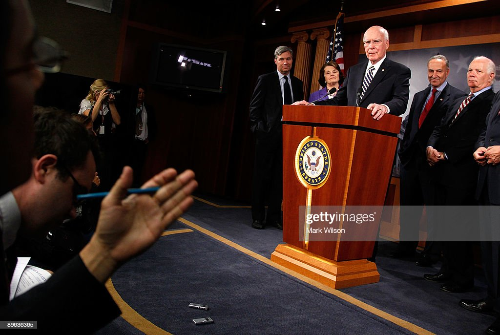 Sen. Patrick Leahy (D-VT) talks to reporters after the Senate confirmed judge Sonia Sotomayor making her the next Supreme Court Justice, on Capitol Hill August 6, 2009 in Washington, DC. Also standing with Senator Leahy is Sen. Sheldon Whitehouse (D-RI) (L), Sen. Dianne Feinstein (D-CA)(2nd-L)and Sen. Charles Schumer (D-NY)(2nd-R) and Sen. Ben Cardin (D-MD) (R).