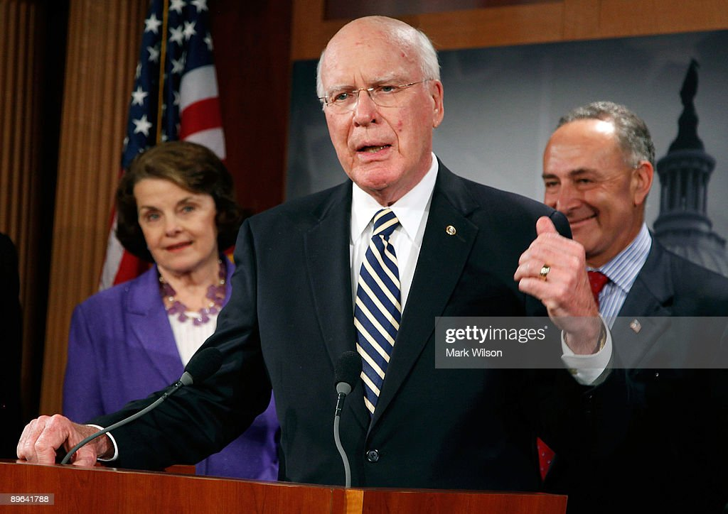Sen. Patrick Leahy (D-VT) talks to reporters after the Senate confirmed judge Sonia Sotomayor making her the next Supreme Court Justice, on Capitol Hill August 6, 2009 in Washington, DC. Also standing with Senator Leahy are Sen. Dianne Feinstein (D-CA)(L)and Sen. Charles Schumer (D-NY)(R).