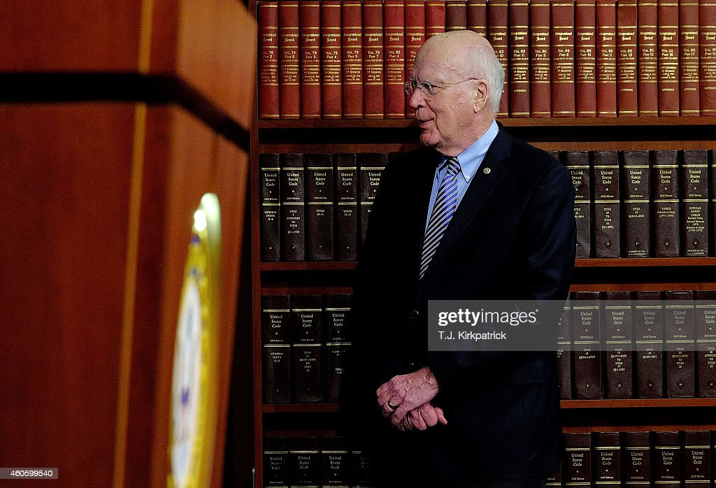 Sen. Patrick Leahy (D-VT) waits for other lawmakers to arrive for a press conference to talk about their efforts to retrieve U.S. contractor Alan Gross from prison in Cuba on December 17, 2014 in Washington, DC. Rep. Chris Van Hollen (D-MD), Sen. Patrick Leahy (D-VT) and Sen. Jeff Flake (R-AZ) flew to Cuba to bring Gross, held in Cuba since 2009, back to the United States. U.S. President Barack Obama announced today plans to restore diplomatic relations with Cuba, over 50 years after they were severed in January 1961.