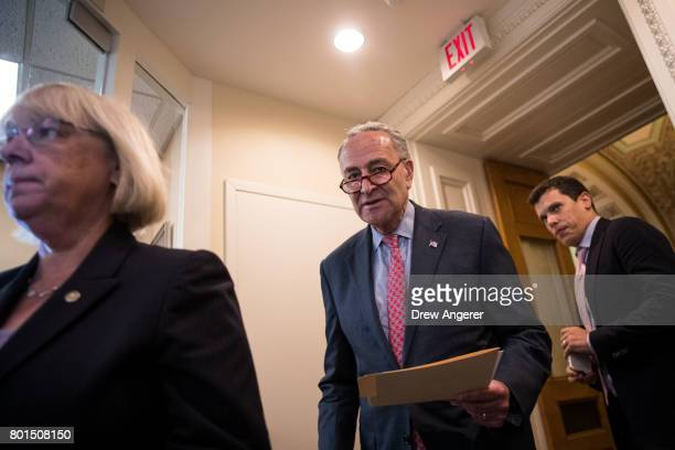 Sen Patty Murray and Senate Minority Leader Chuck Schumer arrive for a press conference about the Senate Republican health care bill on Capitol Hill...