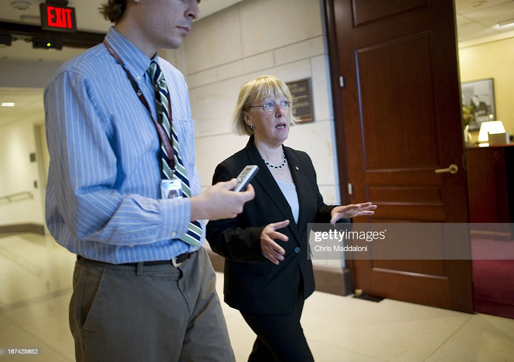 Sen. Patty Murray, D-Wa., arrives for an all-Senators briefing on the ongoing investigation in the Boston Marathon bombings.