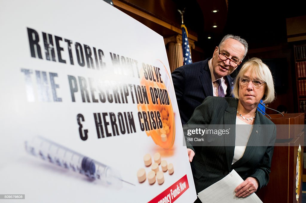 Sen. Patty Murray, D-Wash., and Sen. Chuck Schumer, D-N.Y., participate in the Senate Democrats' news conference to 'demand emergency funding to tackle prescription opioid and heroin crisis' on Thursday, Feb. 11, 2016.