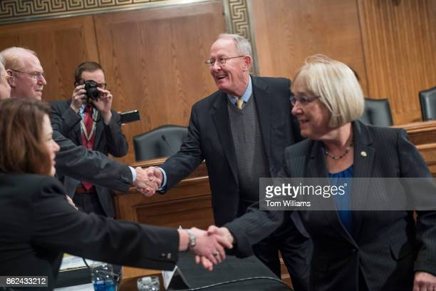 Sen Patty Murray DWash ranking member and Chairman Lamar Alexander RTenn greet witnesses during a Senate Health Education Labor and Pensions...