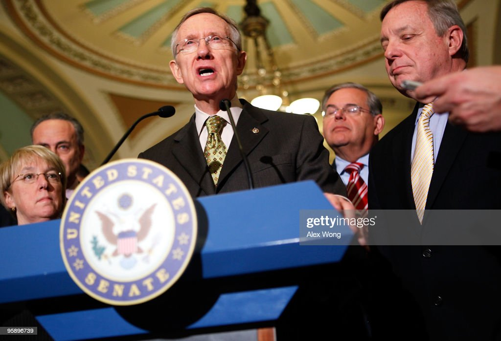 US Sen Patty Murray Sen Charles Schumer Senate Majority Leader Sen Harry Reid Sen Robert Menendez and Senate Majority Whip Sen Richard Durbin speak...