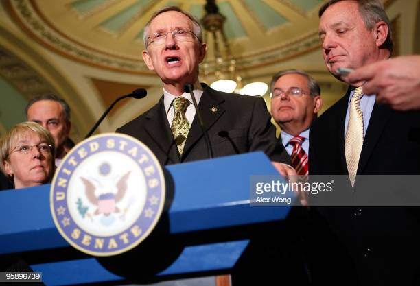 US Sen Patty Murray Sen Charles Schumer Senate Majority Leader Sen Harry Reid Sen Robert Menendez and Senate Majority Whip Sen Richard Durbin speak...