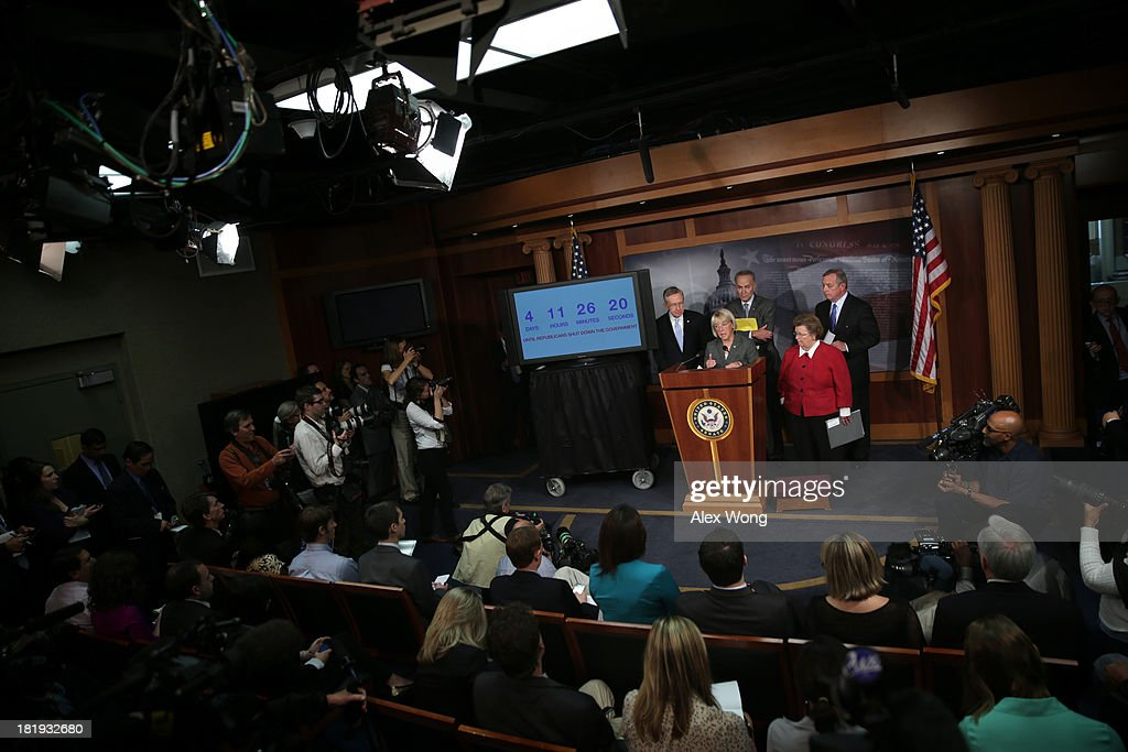 U.S. Sen. <a gi-track='captionPersonalityLinkClicked' href=/galleries/search?phrase=Patty+Murray&family=editorial&specificpeople=532963 ng-click='$event.stopPropagation()'>Patty Murray</a> (D-WA) (2nd L) speaks as (L-R) Senate Majority Leader Sen. <a gi-track='captionPersonalityLinkClicked' href=/galleries/search?phrase=Harry+Reid+-+Politician&family=editorial&specificpeople=203136 ng-click='$event.stopPropagation()'>Harry Reid</a> (D-NV), Sen. <a gi-track='captionPersonalityLinkClicked' href=/galleries/search?phrase=Charles+Schumer&family=editorial&specificpeople=171249 ng-click='$event.stopPropagation()'>Charles Schumer</a> (D-NY), Sen. <a gi-track='captionPersonalityLinkClicked' href=/galleries/search?phrase=Barbara+Mikulski&family=editorial&specificpeople=226768 ng-click='$event.stopPropagation()'>Barbara Mikulski</a> (D-MD), and Senate Majority Whip Sen. Richard Durbin (D-IL) listen during a news conference September 26, 2013 on Capitol Hill in Washington, DC. The Democratic senators held a news conference to call on the House Republicans not to shutdown the government.