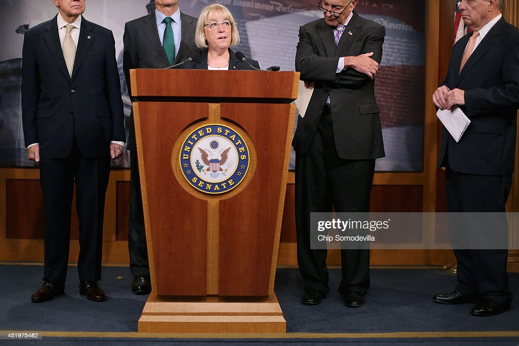 Sen. <a gi-track='captionPersonalityLinkClicked' href=/galleries/search?phrase=Patty+Murray&family=editorial&specificpeople=532963 ng-click='$event.stopPropagation()'>Patty Murray</a> (D-WA) (C) speaks during a news conference to announce they will fast-track new legislation to prevent for-profit employers from refusing to cover health benefits for religious reasons with (L-R) Senate Majority Leader <a gi-track='captionPersonalityLinkClicked' href=/galleries/search?phrase=Harry+Reid+-+Politician&family=editorial&specificpeople=203136 ng-click='$event.stopPropagation()'>Harry Reid</a> (D-NV), Sen. <a gi-track='captionPersonalityLinkClicked' href=/galleries/search?phrase=Mark+Udall&family=editorial&specificpeople=2313628 ng-click='$event.stopPropagation()'>Mark Udall</a> (D-CO), Sen. <a gi-track='captionPersonalityLinkClicked' href=/galleries/search?phrase=Charles+Schumer&family=editorial&specificpeople=171249 ng-click='$event.stopPropagation()'>Charles Schumer</a> (D-NY) and Senate Majority Whip Richard Durbin (D-IL) at the U.S. Capitol July 10, 2014 in Washington, DC. Co-authored by Udall and Murray, the legislation would override the Supreme Court's recent decision in the Hobby Lobby case and compel for-profit business to cover contraception for their employees, as required by the Affordable Care Act.