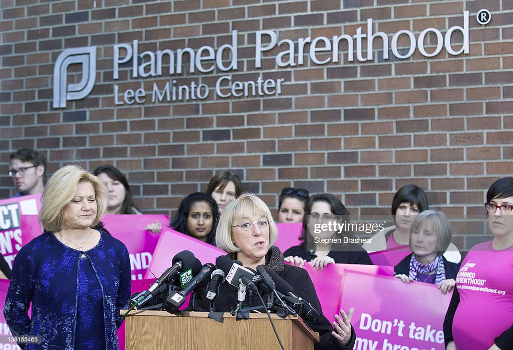 S Sen Patty Murray speaks during a press conference at a Planned Parenthood Clinic February 3 2012 in Seattle Washington Murray commended the Susan G...