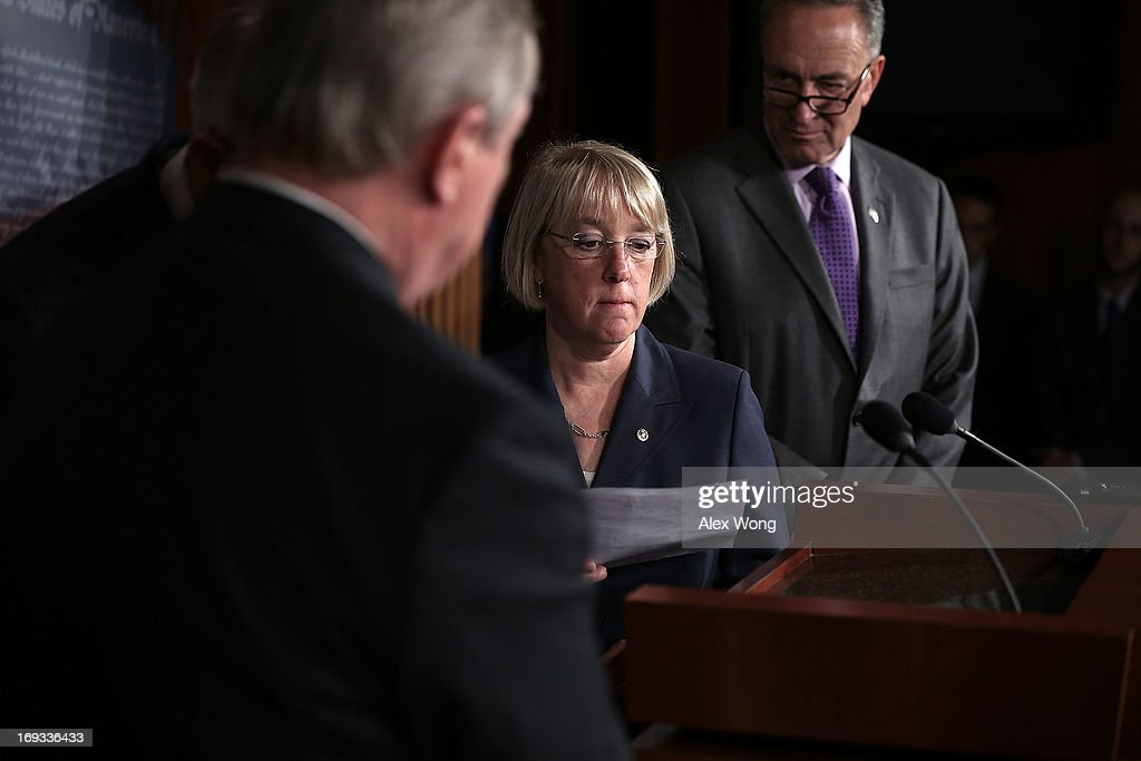S. Sen. <a gi-track='captionPersonalityLinkClicked' href=/galleries/search?phrase=Patty+Murray&family=editorial&specificpeople=532963 ng-click='$event.stopPropagation()'>Patty Murray</a> (D-WA) (2nd R) takes the podium as U.S. Sen. <a gi-track='captionPersonalityLinkClicked' href=/galleries/search?phrase=Charles+Schumer&family=editorial&specificpeople=171249 ng-click='$event.stopPropagation()'>Charles Schumer</a> (D-NY) (R) looks on during a news conference May 23, 2013 on Capitol Hill in Washington, DC. The Senate Democratic leadership held a news conference to highlight the continued obstruction by Senate Republicans of President Obama's executive and judicial nominees.