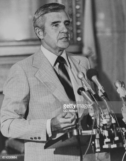 Sen Paul Laxalt RNev at a press conference 1983