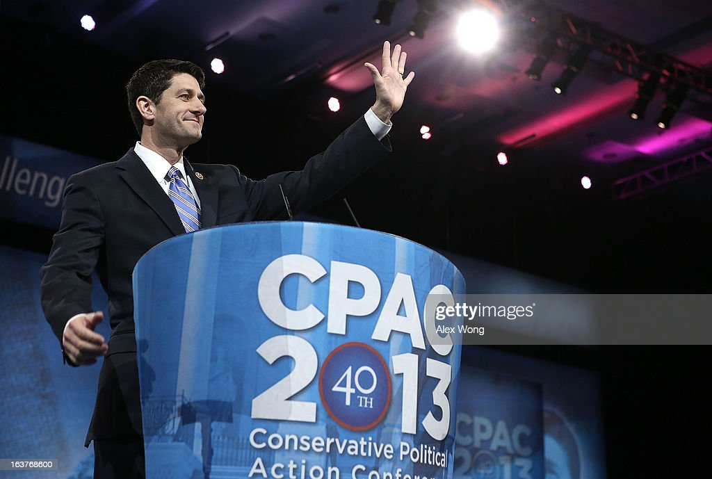 U.S. Sen. Paul Ryan (R-WI) waves as he delivers remarks during the second day of the 40th annual Conservative Political Action Conference (CPAC) March 15, 2013 in National Harbor, Maryland. The American conservative Union held its annual conference in the suburb of Washington, DC, to rally conservatives and generate ideas.