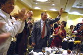 Sen Pete Domenici RNM waves to the crowd at the Lincoln Day Dinner held in the Marriott hotel in Albuquerque NM