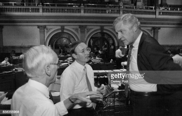 Sen President Ted Strickland right looks stunned after his transportation bill was defeated in the senate with him are Sen Al Meiklejohn left and Sen...