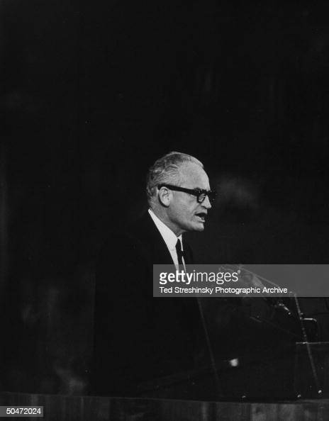 US Sen presidential cand Barry Goldwater speaking at podium during GOP Natl Convention at Cow Palace
