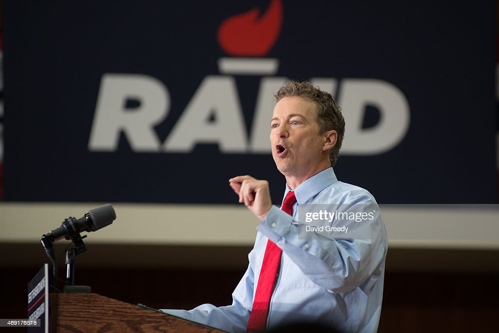 U.S. Sen. <a gi-track='captionPersonalityLinkClicked' href=/galleries/search?phrase=Rand+Paul&family=editorial&specificpeople=6939188 ng-click='$event.stopPropagation()'>Rand Paul</a> (R-KY) and GOP presidential hopeful and GOP presidential hopeful continues his 'Stand by Rand' tour at the University of Iowa campus on April 10, 2015 in Iowa City, IA. Rand announced his candidacy for the President of the United States earlier in the week and is traveling across the nation on a 5 day tour to get his message out.