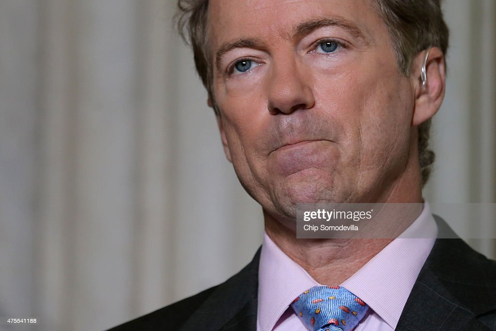 U.S. Sen. <a gi-track='captionPersonalityLinkClicked' href=/galleries/search?phrase=Rand+Paul&family=editorial&specificpeople=6939188 ng-click='$event.stopPropagation()'>Rand Paul</a> (R-KY) does a live interview with FOX News in the Russell Senate Office Building rotunda on Capitol Hill June 1, 2015 in Washington, DC. In protest of the National Security Agency's sweeping program to collect U.S. citizens' telephone metadata, Paul blocked an extension of some parts of the USA PATRIOT Act, allowing them to lapse at 12:01 a.m. Monday. The Senate will continue to work to restore the lapsed authorities by amending a House version of the bill and getting it to President Obama later this week.